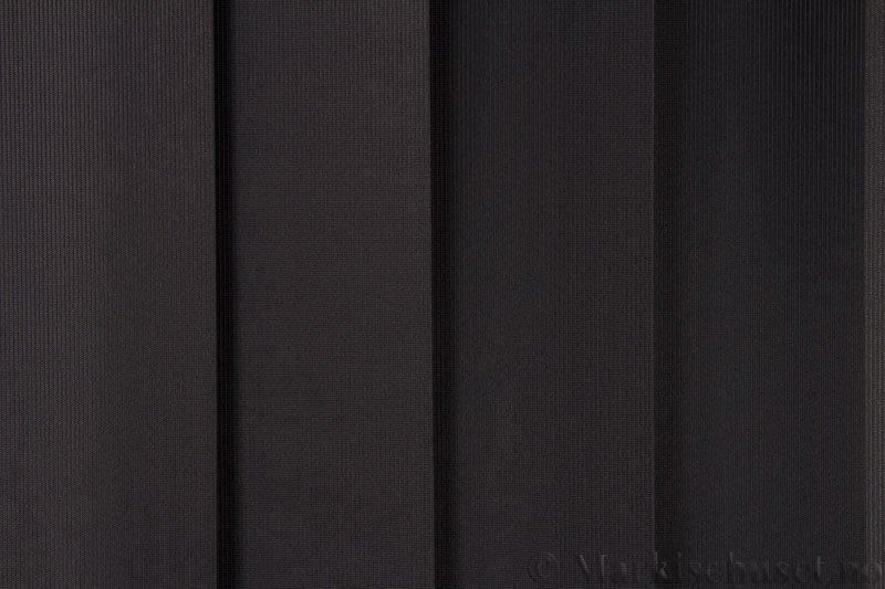 Lamellgardin tekstil serien GreenScreen ECO 250965-1887 Sort farge. Bildet er tatt med lys forfra.