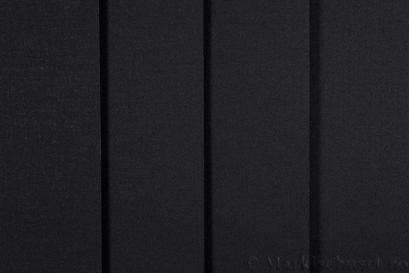 Lamellgardin tekstil serien Oscura Color 251285-1858 farge Sort. Bildet er tatt med lys forfra.