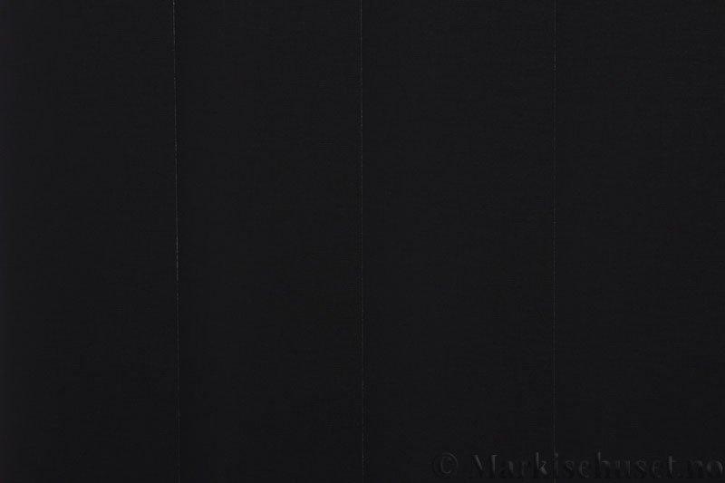 Lamellgardin tekstil serien Oscura Color 251285-1858 farge Sort. Bildet er tatt med lys bakfra.