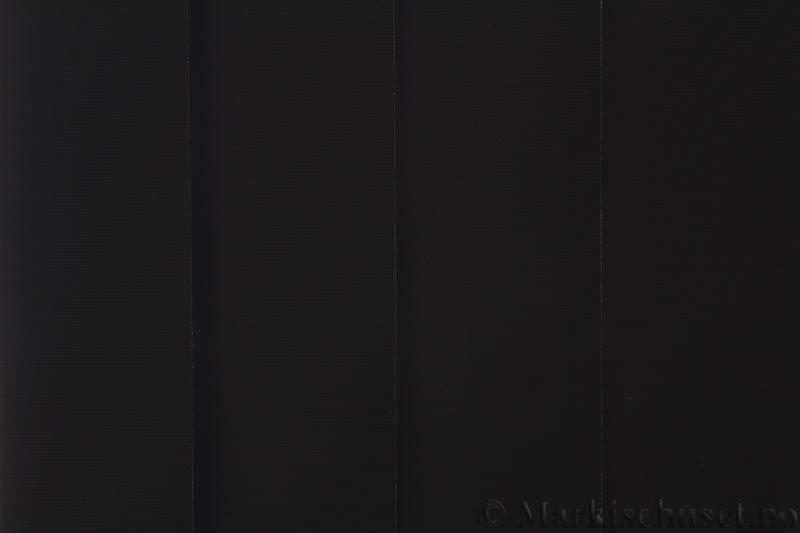 Lamellgardin tekstil serien Midnight BO FR 251405-1858 farge Sort. Bildet er tatt med lys bakfra.
