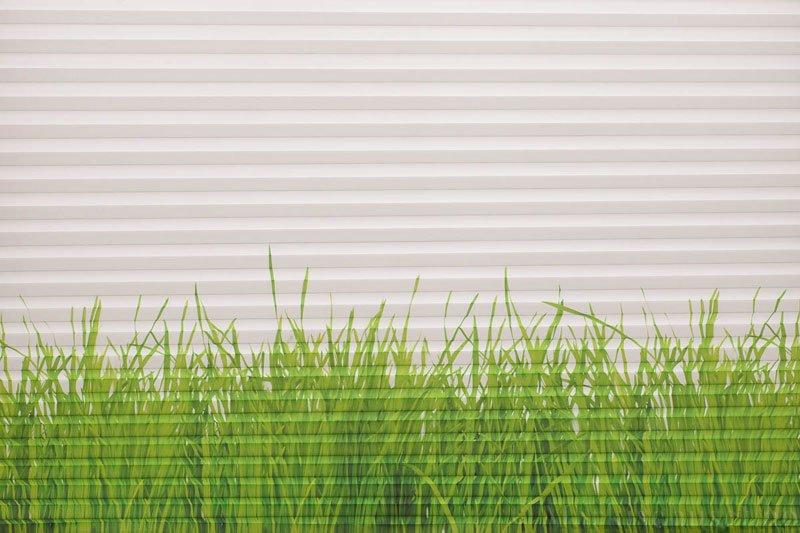 Plisségardin tekstil Chintz Topar Plus DigiDesign 290900-0006 Grønt gress motiv. Bildet er tatt med lys forfra.