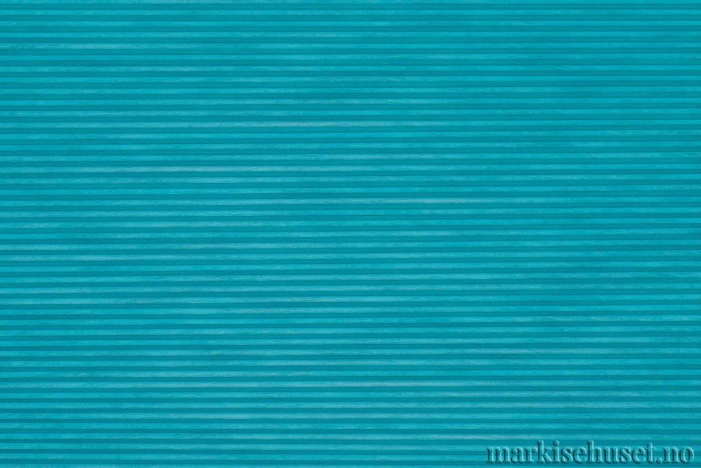 """Duette tekstil i serien Duotone 25mm. Farge: """"BrightAqua"""". Bildet er tatt med lys forfra."""