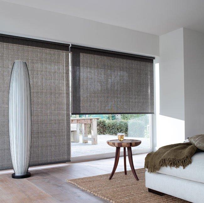 Rullegardin farge brun/grå til stue